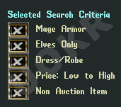 Ultima Online: Selected Search Criteria (Критерии поиска)
