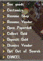 Ultima Online: Vendor Menu